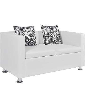 vidaXL Sofá blanco/negro de cuero artificial, 2 plazas muebles de casa asiento bricolaje