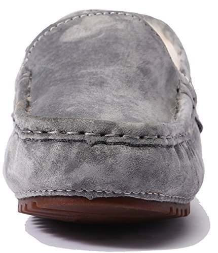 Women's Wool Women Fur lite Flat on Indoor Loafer Slippers Moccasin Pigskin Suede U Slip for Grey amp;Outdoor Shearing Slipper Casual 5axtAESwq