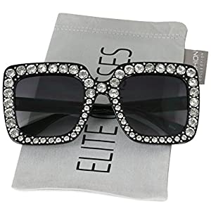 Elite Oversized Square Frame Crystal Bling Rhinestone Brand Designer Sunglasses For Women 2018