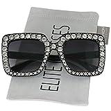 Elite Oversized Square Frame Crystal Bling Rhinestone Brand Designer Sunglasses For Women 2018