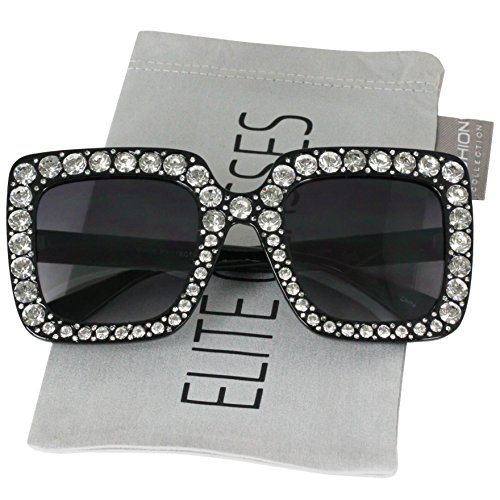 (Elite Oversized Square Frame Crystal Bling Rhinestone Brand Designer Sunglasses For Women)