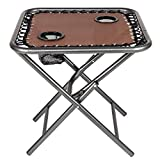 Bonnlo Outdoor Folding Sling Side Table with Mesh Cup Holders for Camping, Picnic, Patio, Garden, Backyard, Beach (Table Only) (Brown)