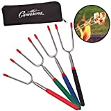 Marshmallow Roasting Sticks- Set of 4 Telescopic 34' Extendable Stainless Steel Forks with Zippered Case - Roasts 2 at Once