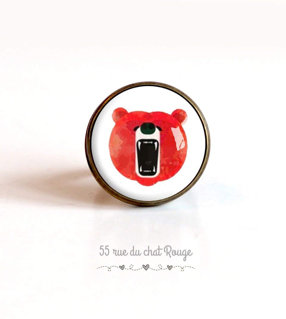 Bague cabochon 20 mm Cabochon ours animal sauvage rouge et blanc