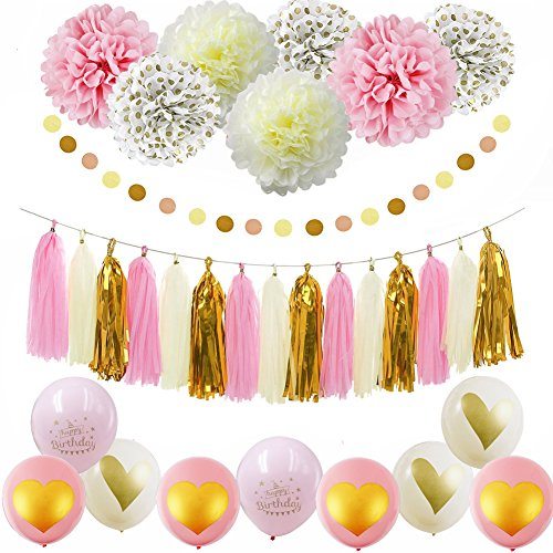 Pink Gold Happy Birthday Party Decorations Pink Cream Glitter Gold Ballons Tissue Paper Pom Pom Polka Dot for Girl First BiIrtday Decorations Pink Gold Party Decor/1st Birthday Girl Decorations Kit