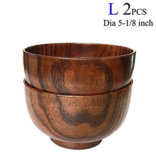The Wooden Bowl (Cospring Set of 2 Solid Wood Bowl, 5-1/8 inch Dia by 3-1/8 inch, for Rice, Soup, Dip, Decoration (Large))