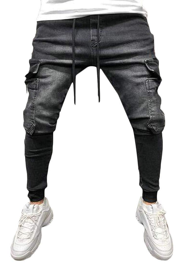 YYG Mens Jeans Hip Hop Drawstring Slim Fit Washed Denim Cargo Jogger Pants