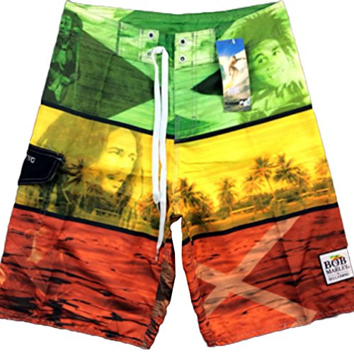 Baymate Herren Badeshorts Multi-Color Surf-Shorts Badehosen Mit Drucken Boardshorts Blau 32