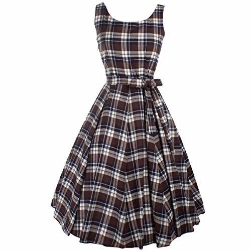 SUNYIK A Line Dress for Women,Plaid Sleeveless Rockabilly Swing Dress Vintage 1950s Dresses Small Brown