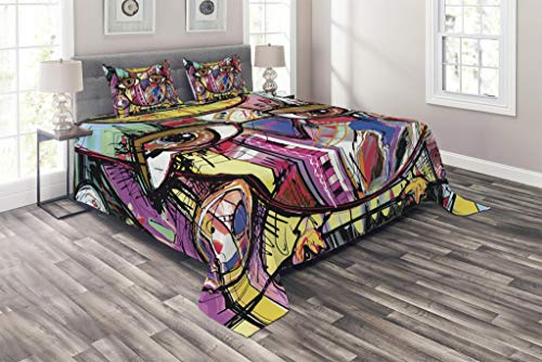 - Lunarable Abstract Coverlet Set King Size, Digital Painting of an Abstract Owl Animal Goofy Eyes Humor Fun Cartoon Doodle, 3 Piece Decorative Quilted Bedspread Set with 2 Pillow Shams, Black Fuchsia