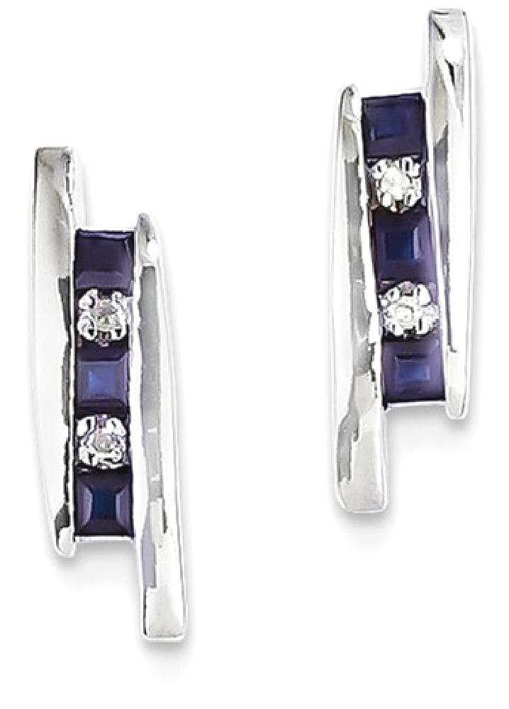 ICE CARATS 14k White Gold Diamond Sapphire Post Stud Ball Button Earrings Fine Jewelry Gift Set For Women Heart
