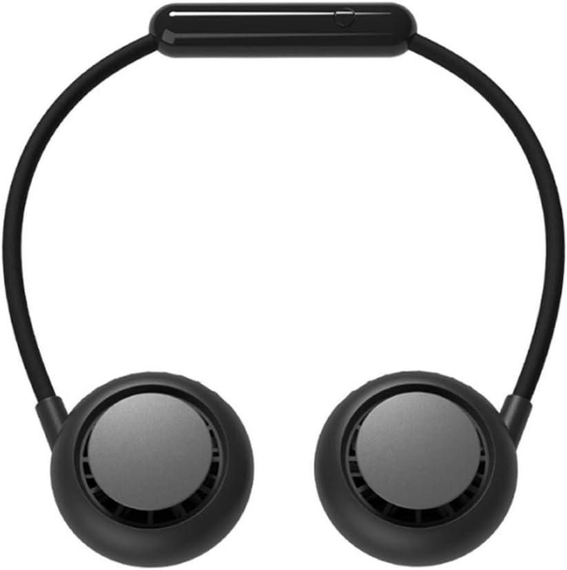 XALO Wearable Cuello del Ventilador, Que Cuelga del Cuello De Manos Libres Ventilador Mini USB 3-Velocidad Silencioso Ventilador del Radiador Plegable, Viajes Oficina De Deportes Al Aire Libre,Negro