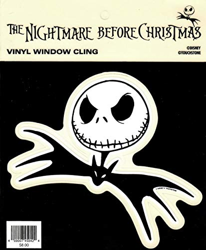The Nightmare Before Christmas Vinyl Window Cling of Jack Skellington Licensed by Disney/Touchstone
