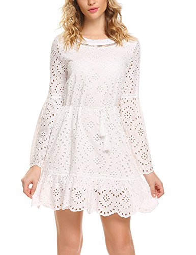 Zeagoo Women's Bell Sleeve Eyelet Fit and Flare Solid Mini Crochet Lace Dress with String Belted