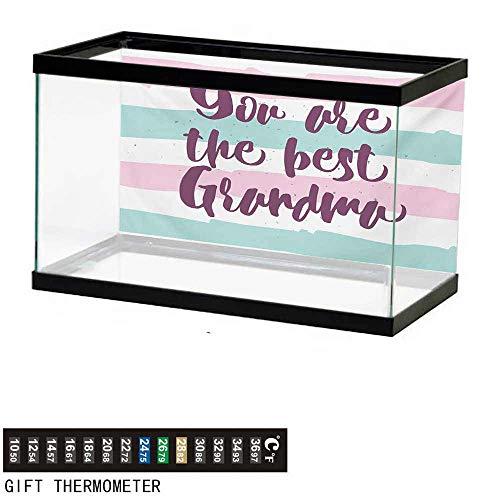 (wwwhsl Aquarium Background,Grandma,Hand Drawn Calligraphic Quote on a Pastel Colored Stripes Background,Violet Seafoam Pale Pink Fish Tank Backdrop 36