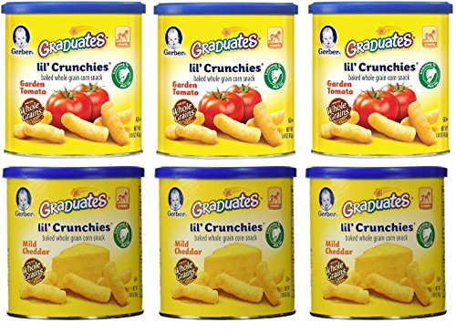 Gerber Graduates Lil' Crunchies, Mild Cheddar/Garden Tomato, 1.48-Ounce Canisters (Pack of 6) (Garden Tomato Crunchies)