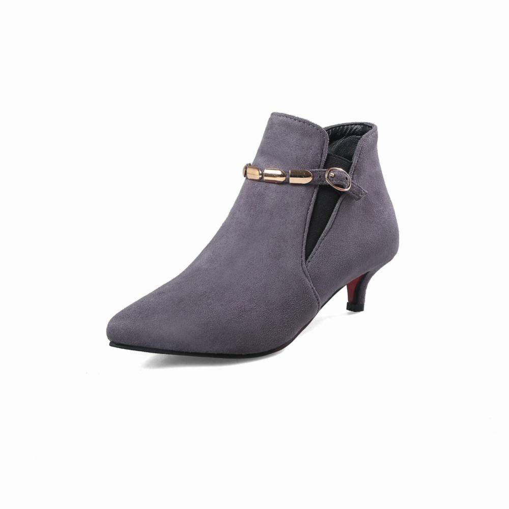 Fuxitoggo Damenschuhe - Herbst und Winter Warme Damenstiefel Martin Martin Martin Stiefel Stiletto Fashion Schuhe   34-40 (Farbe   Grau Größe   38) bb02dc