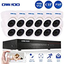OWSOO 16CH CIF CCTV Surveillance DVR Security System HDMI P2P Cloud Network Digital Video Recorder with 12x 800TVL Indoor Infrared Dome Camera, Support IR-CUT Night Vision Plug and Play - White