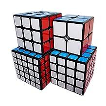 Kingcube Speedcubing Beginner Bundle YJ Guanpo2x2 & Guanlong 3x3 & Guansu 4x4 & Yuchuang 5x5 Magic cube Black puzzle