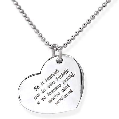 comprare on line bbafc b9844 Collana cuore in argento 925 con incisione personalizzata.Crea un ...