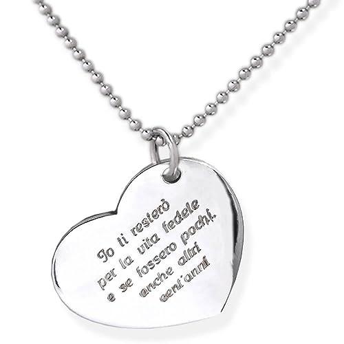 vasta selezione di 292d9 37dc5 Collana cuore in argento 925 con incisione personalizzata.Crea un ciondolo  personalizzato con la tua frase incisa