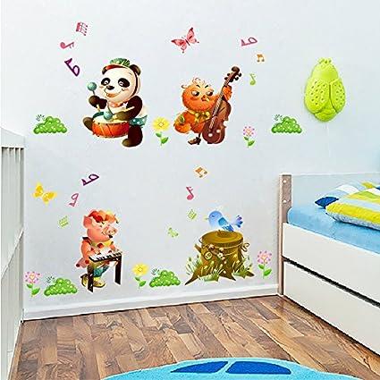 animaux jouant des instruments autocollant mural de pvc la maison papier peint en vinyle pour