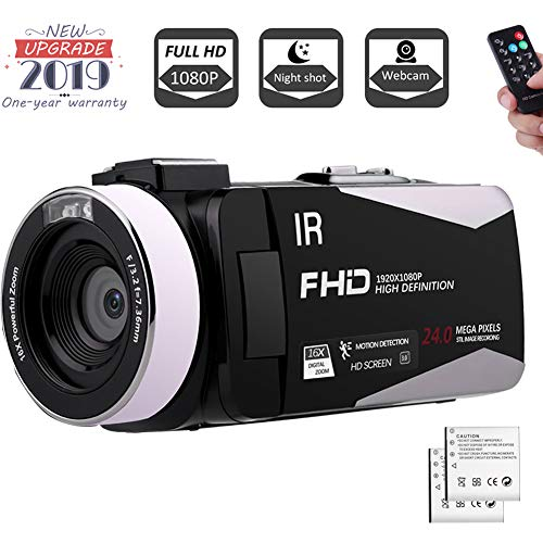 Camcorder 1080P FHD Video Camera Night Vision Video Camcorder with 270 Degree Rotation Screen and Remote Control Vlogging Camera for YouTube with 2 Batteries (V5I)