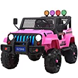 Uenjoy Electric Kids Ride On Cars 12V Battery Motorized Vehicles W/ Wheels Suspension, Remote Control, Music& Story Playing, Colorful Lights, Sunshine Model, Pink
