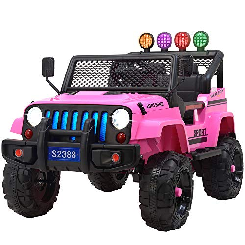 Uenjoy Jeep Electric Kids Ride On Cars 12V Battery Power Vehicles W/ Wheels Suspension, Remote Control, Music& Story Playing, Colorful Lights, Sunshine Model, Pink