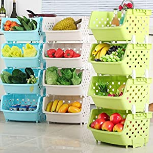 4Pack Market Baskets YIFAN Storage Basket Stacking Baskets Organizer for Fruits, Vegetables, Pantry Items Toys
