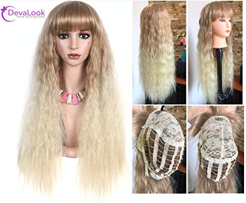 28 Inches Long Curly Full Head Ombre Wig With Bang Fringe Brown Blonde 220grams (28