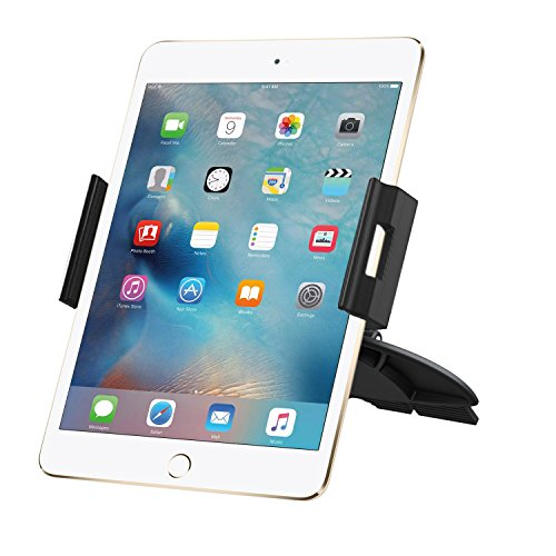 iPad Car Mount, Skiva Universal Tablet and Smartphone CD Slot Car Mount Holder Cradle for iPad Pro 9.7, iPad Air Mini, Samsung Galaxy Tab S9 S8 Plus, Google Nexus 7, iPhone X 8+ & More [Model:AH109]