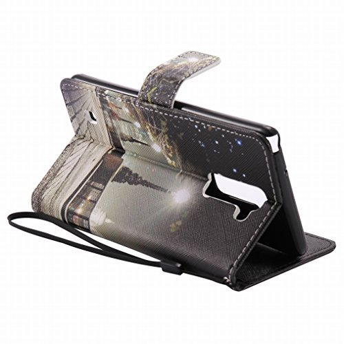 LEMORRY LG Stylus 2 (LS775) Custodia Pelle Cuoio Flip Portafoglio Borsa Sottile Fit Bumper Protettivo Magnetico Chiusura Standing Card Slot Morbido Silicone TPU Case Cover Custodia per LG Stylus 2, Vi