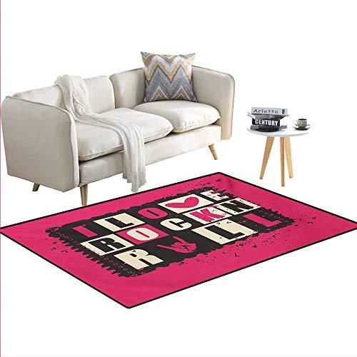 Carpet,Vintage LettersI Love Rock n Roll on Grunge Poster Mu