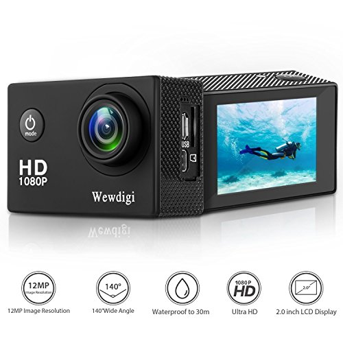 Wewdigi EV5000 Action Camera, 12MP 1080P 2 Inch LCD Screen, Waterproof Sports Cam 140 Degree Wide Angle Lens, 30m Sport Camera DV Camcorder with 10 Accessories Kit (Black)