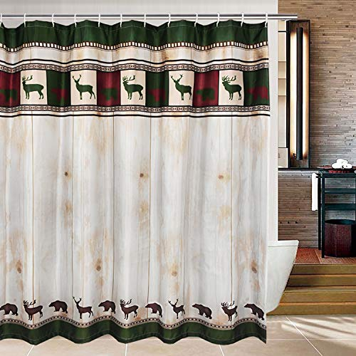 modern timesm Bathroom Shower Curtain Vintage Animals Shower Curtains with 12 Hooks, Green and Red Print Bath Curtain Durable Waterproof Fabric Bathroom Curtain