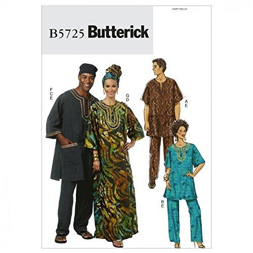 Butterick Ladies & Men39;s Easy Sewing Pattern 5725 Caftans & Lounge Wear Wear Caftan