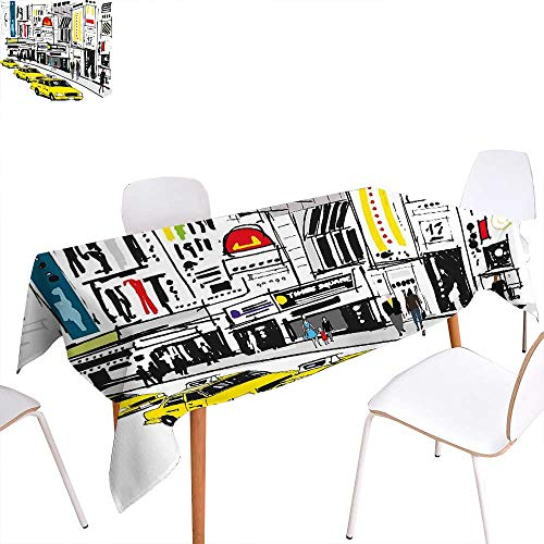 familytaste Modern Dinner Picnic Table ClothTimes Square New York with People in Street Taxi Cabs Traffic Fashion Illustration Waterproof Table Cover for Kitchen 70