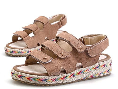 Hope Studenti Summer Confortevole Sandali Flat Woven Rope Ladies Adesivi Bottom Magic Cuoio Khaki Tre Handmade Colori 3cm Nvlxie pz1qOxq