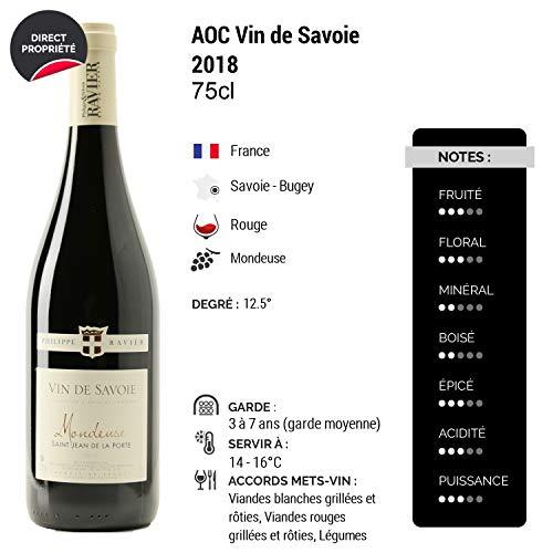 Vin-de-Savoie-Mondeuse-Saint-Jean-de-la-Porte-Rouge-2018-Philippe-et-Sylvain-Ravier-Vin-AOC-Rouge-de-Savoie-Bugey-Cepage-Mondeuse-Lot-de-6x75cl