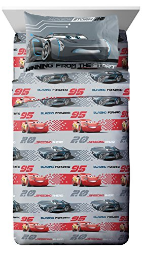Disney/Pixar Cars 3 Movie Editorial Gray/Red 3 Piece Twin Sheet Set with Lightning McQueen & Jackson Storm (Official Disney/Pixar Product)