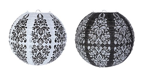 Baroque Flower Pattern Paper Lanterns - Decorative Lanterns for Weddings, Parties, Baby Showers, Black and White - 6 - Baroque Flower