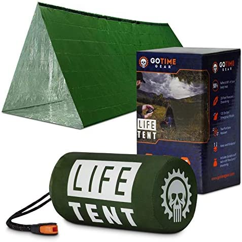 Go Time Gear Life Tent Emergency Survival Shelter – 2 Person Emergency Tent – Use As Survival Tent, Emergency Shelter, Tube Tent, Survival Tarp - Includes Survival Whistle & Paracord 1