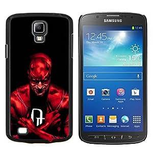 KLONGSHOP // Cubierta de piel con cierre a presión Shell trasero duro de goma Protección Caso - Red Superhéroe - Samsung Galaxy S4 Active i9295 //