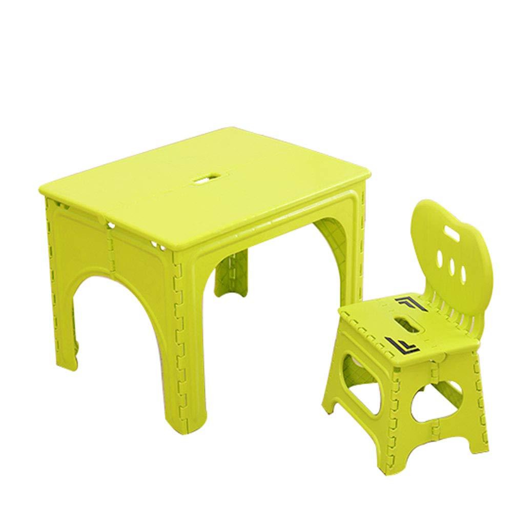 Blu,Verde con Comoda Sedia Rosa ZH Tavolo E Sedia Pieghevole da Campeggio per Bambini Tavolo da attivit/à in Plastica per Esterno da Giardino per 2 E 7 Anni