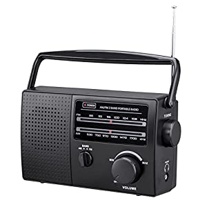 """PR-137 AM/FM 2 Band Portable Radio AC operated or operated by dry battery (""""C"""" Size x 4pcs, battery not included), black"""