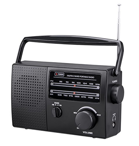 PR-137 AM/FM 2 Band Portable Radio AC Operated Built-in undetachable Power Cord or Operated by Dry Battery (C Size x 4pcs, Battery not Included), Black