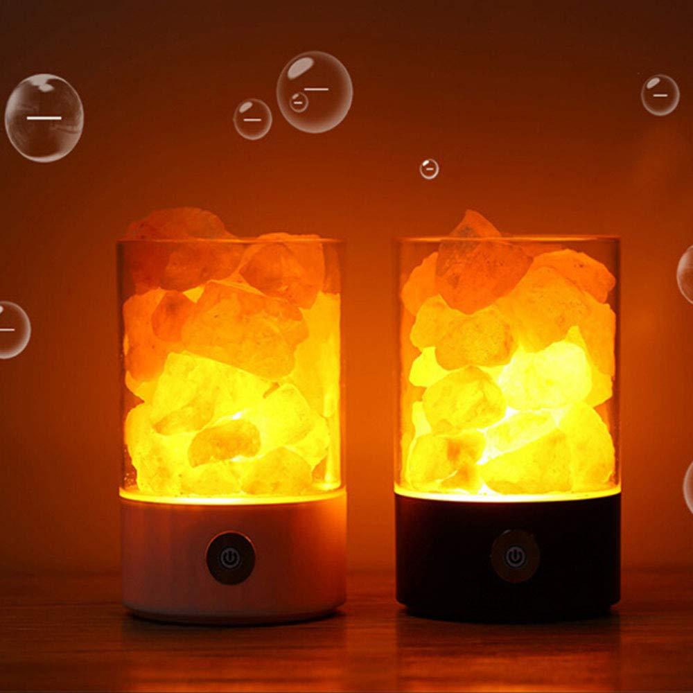 lampada da comodino con Touch Brightness Funzione di controllo dimmerabile Lampada del sale dellHimalaya Lychee cristallo naturale Rock 7 colori luce del sale Nero