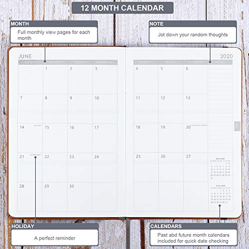 2020 Planner - Weekly & Monthly Planner with Calendar Stickers, A5 Premium Thicker Paper with Pen Holder, Inner Pocket and 88 Notes Pages
