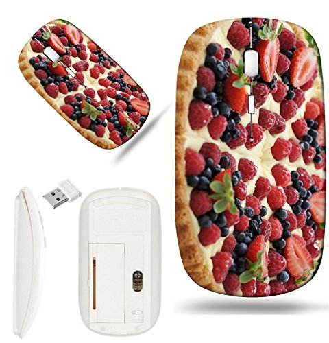 (Luxlady Wireless Mouse White Base Travel 2.4G Wireless Mice with USB Receiver, 1000 DPI for notebook, pc, laptop, computer, macdesign IMAGE ID 25714897 Fruit tart pie with fresh raspberry and blueberr)
